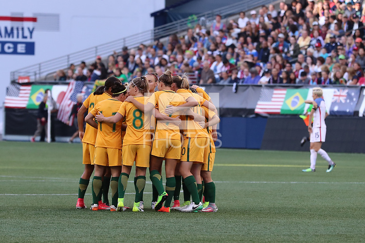 Seattle, WA - Thursday July 27, 2017: Australia Women's National Team during a 2017 Tournament of Nations match between the women's national teams of the United States (USA) and Australia (AUS) at CenturyLink Field.