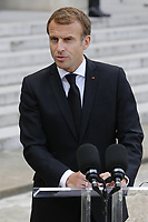 French President Emmanuel Macron speaks to press during a visit at The Elysee Presidential Palace in Paris. 13.10.2021 . Credit: Action Press/MediaPunch **FOR USA ONLY**