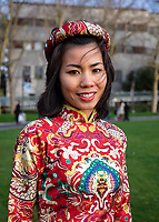 Heidi in Red Dragon Dress, Vietnamese New Year Festival 2020, Seattle, WA, USA.