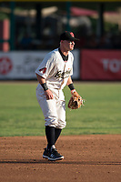 Visalia Rawhide shortstop Camden Duzenack (4) during a California League game against the Stockton Ports at Visalia Recreation Ballpark on May 8, 2018 in Visalia, California. Stockton defeated Visalia 6-2. (Zachary Lucy/Four Seam Images)