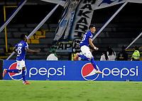 BOGOTA - COLOMBIA, 06-09-2021: Fernando Uribe de Millonarios F. C. corre a celebrar el gol anotado de su equipo a Patriotas Boyaca F. C. durante partido entre Millonarios F. C. y Patriotas Boyaca F. C. de la fecha 8 por la Liga BetPlay DIMAYOR II 2021 jugado en el estadio Nemesio Camacho El Campin de la ciudad de Bogota. / Fernando Uribe of Millonarios F. C. runs to celebrate the scored goal from his team to Patriotas Boyaca F. C. during a match between Millonarios F. C. and Patriotas Boyaca F. C. of the 8th date for the BetPlay DIMAYOR II 2021 League played at the Nemesio Camacho El Campin Stadium in Bogota city. / Photo: VizzorImage / Luis Ramirez / Staff.
