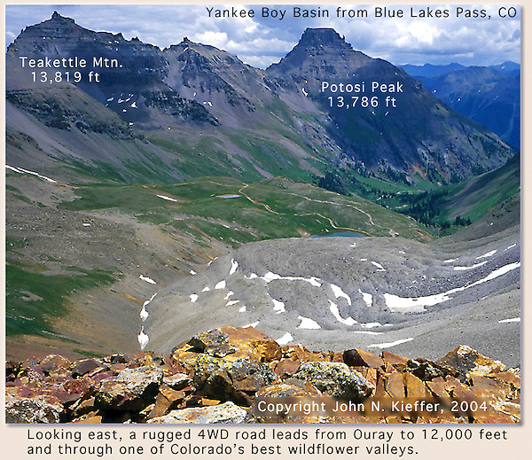"From ""Mastering Nature Photography"" by John Kieffer. Yankee Boy Basin from Blue Lakes Pass, Colorado. John leads private, photo tours throughout Colorado, including Denver and Boulder."