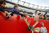 New England Revolution goalkeeper Matt Reis (1) signs autographs prior to the start of the game. The New England Revolution defeated Santos Laguna 1-0 during a Group B match of the 2008 North American SuperLiga at Gillette Stadium in Foxborough, Massachusetts, on July 13, 2008.