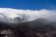 The eastern slopes of Mount Washington in the New Hampshire White Mountains during an extremely windy winter day.