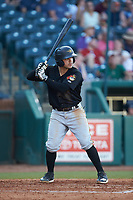 Jesse Medrano (10) of the West Virginia Power at bat against the Greensboro Grasshoppers at First National Bank Field on August 9, 2018 in Greensboro, North Carolina. The Power defeated the Grasshoppers 5-3 in game one of a double-header. (Brian Westerholt/Four Seam Images)