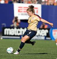 Cat Whitehill sends in a cross. USA defeated Brazil 2-0 at Giants Stadium on Sunday, June 23, 2007.