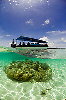 Dive boat in the shallows, Indonesia