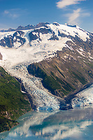 Aerial of Cascade and Barry tidewater glaciers that meet in Barry Arm, Prince William Sound, Alaska