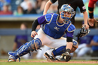 Tulsa Drillers catcher Ryan Casteel (32) keeps his eyes on Tomas Telis (not shown) attempting to score during the second game of a doubleheader against the Frisco Rough Riders on May 29, 2014 at ONEOK Field in Tulsa, Oklahoma.  Frisco defeated Tulsa 3-2.  (Mike Janes/Four Seam Images)