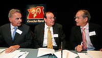 Montreal (Qc) CANADA,  - File Photo -<br /> Alain Bouchard, CEO Groupe <br /> Couche Tard (L) Richard Fortin, CFO and Executive VP  (M), Real Plourde, Executive VP and Operation Manager,<br /> at the  Annual General Meeting<br /> <br /> <br /> photo : (c) images Distribution