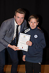 St Johnstone FC Academy Awards Night...06.04.15  Perth Concert Hall<br /> Zander Clark presents a certificate to Ross MacFralane<br /> Picture by Graeme Hart.<br /> Copyright Perthshire Picture Agency<br /> Tel: 01738 623350  Mobile: 07990 594431