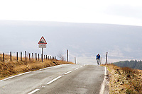 Picture by Harry Whitehead/SWpix.com - 18/02/2014 - Cycling - Tour de France - Grand Depart Stage 2 preview- Yorkshire, England - A cyclist climbs the A6024/Woodhead Road towards Holme Moss