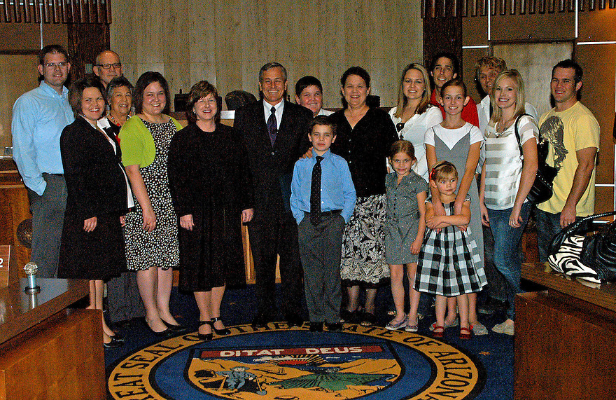 AJ Alexander - Jerry Lewis was sworn in as newest Arizona state senator, he is replacing Russell Pearce the first legislator to be recalled, on Tuesday November 22, 2011. And Family.Photo by AJ Alexander.