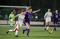 Jill Janssens (7) of OHL and Sarah Wijnants (11) of Anderlecht in action during a female soccer game between Oud Heverlee Leuven and RSC Anderlecht on the 12 th matchday of the 2020 - 2021 season of Belgian Womens Super League , sunday 31 st of January 2021  in Heverlee , Belgium . PHOTO SPORTPIX.BE | SPP | SEVIL OKTEM