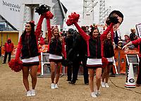 ATLANTA, GA - DECEMBER 7: Georgia cheerleaders during a game between Georgia Bulldogs and LSU Tigers at Mercedes Benz Stadium on December 7, 2019 in Atlanta, Georgia.