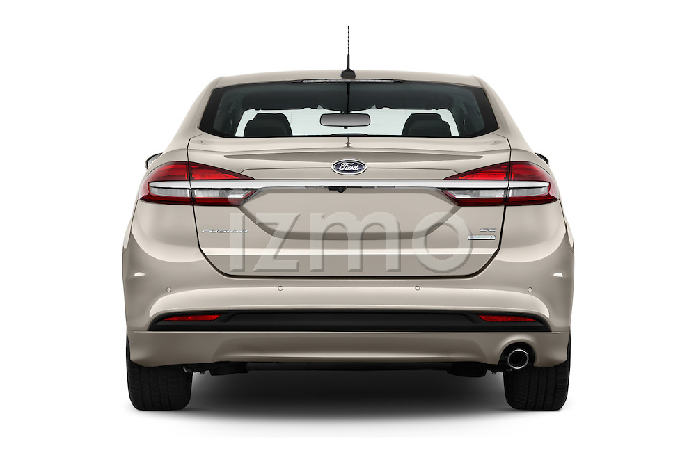 Straight rear view of 2017 Ford Fusion SE-FWD 4 Door Sedan Rear View  stock images