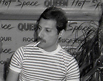 "Freddie Mercury of Queen attend Queen Press Conference for ""Hot Space"" at Crazy Eddie's on July 27, 1982  in New York City."