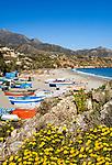 ESP, Spanien, Andalusien, Provinz Málaga, Costa del Sol, Nerja: Strand, Playa de Burriana | ESP, Spain, Andalusia, Costa del Sol, Nerja: beach, Playa de Burriana