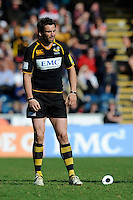Nick Robinson of London Wasps looks dejected after missing a penalty kick during the Aviva Premiership match between London Wasps and Gloucester Rugby at Adams Park on Sunday 1st April 2012 (Photo by Rob Munro)