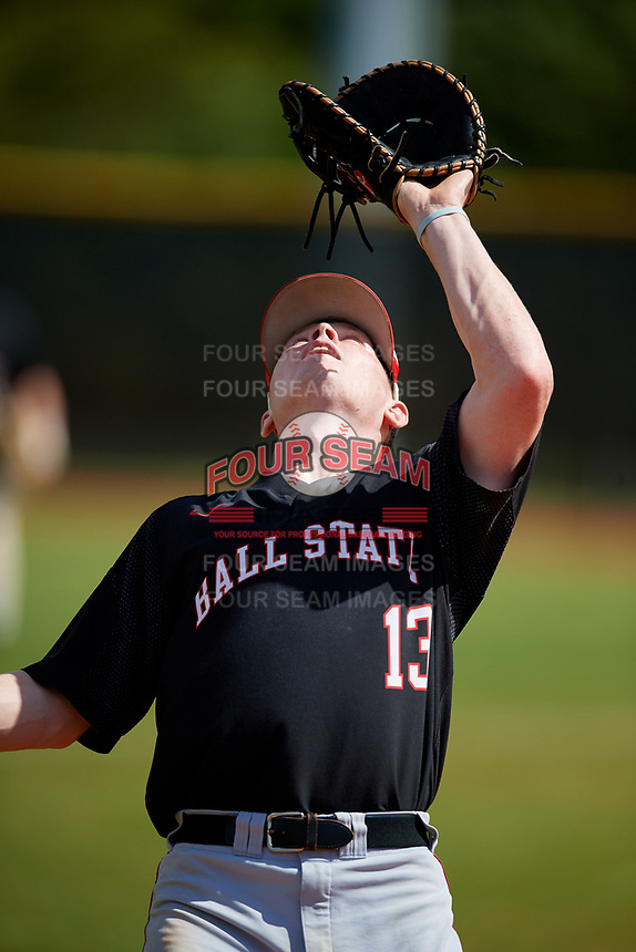 Ball State Cardinals first baseman Griffin Hulecki (13) catches a popup during a game against the Saint Joseph's Hawks on March 9, 2019 at North Charlotte Regional Park in Port Charlotte, Florida.  Ball State defeated Saint Joseph's 7-5.  (Mike Janes/Four Seam Images)