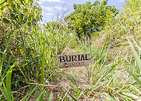 "Ancient Hawaiian burial on beach with ""Keep Out"" Sign, South Shore, Moloka'i"