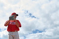 Philadelphia Phillies pitcher Trevor Bettencourt (22) warms up in the bullpen during a minor league Spring Training game against the Pittsburgh Pirates on March 24, 2017 at Carpenter Complex in Clearwater, Florida.  (Mike Janes/Four Seam Images)
