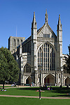 Great Britain, England, Hampshire, Winchester: West facade of Winchester Cathedral, completed by the Normans around 1093