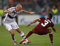 Calcio, Champions League, Gruppo E: Roma vs Bayern Monaco. Roma, stadio Olimpico, 21 ottobre 2014.<br /> Bayern's Arjen Robben is challenged by Roma's Ashley Cole, right, during the Group E Champions League football match between AS Roma and Bayern at Rome's Olympic stadium, 21 October 2014.<br /> UPDATE IMAGES PRESS/Isabella Bonotto