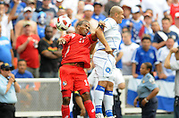 Panama Luis Henriquez (17) heads the ball against El Salvador Dennis Alas (14)   Panama defeated El Salvador in penalty kicks 5-3 in the quaterfinals for the 2011 CONCACAF Gold Cup , at RFK Stadium, Sunday June 19, 2011.