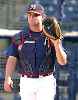 18 April 2005: Catcher Brian McCann of the Mississippi Braves, Class AA affiliate of the Atlanta Braves, taken at Trustmark Park in Pearl, Mississippi. Photo by Tom Priddy (Tom Priddy/Four Seam Images)