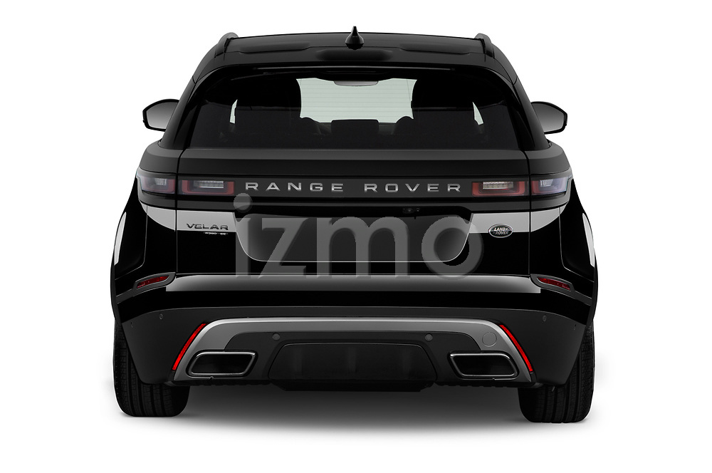 Straight rear view of a 2018 Land Rover Range Rover Velar R-Dynamic SE 4WD 5 Door SUV stock images