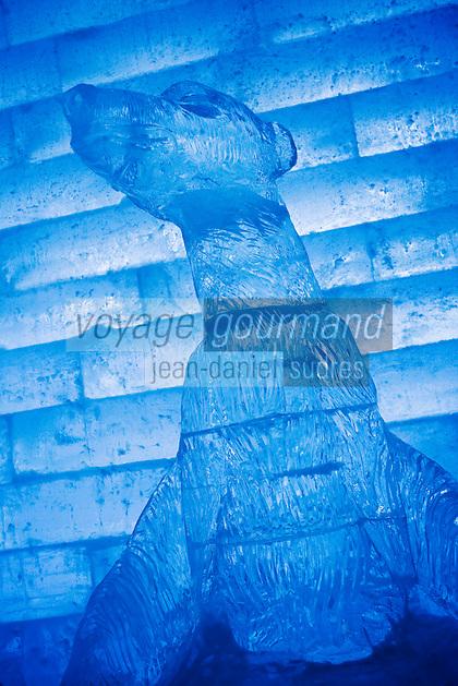 Amérique/Amérique du Nord/Canada/Québec/   Sainte-Catherine -de-la -Jacques-Cartier: Détail statue d'Ours de glace  à l' Ice Hôtel, Hôtel de Glace à la station touristique de Duschesnay prés du lac Saint-Joseph