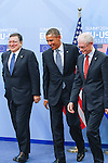 José Manuel Barroso, President of the European Commission, left, after a welcome shake hands with The United States President Barack Obama and Herman Van Rompuy, President of the European Council prior a meeting of the EU-US Summit in Council of Europe, in Brussels, Wednesday 26, March 2014.<br /> This is the first visit for President Barack Obama to the European Institutions in Brussels. Photo by Delmi Alvarez