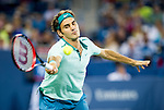 Roger Federer (SUI) wins his semifinal match against Milos Raonic (CAN). Federer advanced to Sunday's final with a score of 62 63 at the Western & Southern Open in Mason, OH on August 16, 2014.