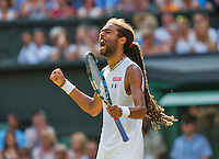 England, London, Juli 02, 2015, Tennis, Wimbledon, Dustin Brown (GER) screems it out in his match against Rafael Nadal (ESP)<br /> Photo: Tennisimages/Henk Koster