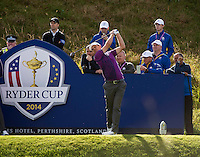 24.09.2014. Gleneagles, Auchterarder, Perthshire, Scotland.  The Ryder Cup.  Justin Rose (EUR) on the 9th tee during his practice round.