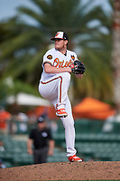 Baltimore Orioles relief pitcher Josh Rogers (65) delivers a pitch during a Grapefruit League Spring Training game against the Tampa Bay Rays on March 1, 2019 at Ed Smith Stadium in Sarasota, Florida.  Rays defeated the Orioles 10-5.  (Mike Janes/Four Seam Images)