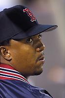 Pedro Martinez of the Boston Red Sox during a 2001 season MLB game at Angel Stadium in Anaheim, California. (Larry Goren/Four Seam Images)