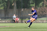 NEWTON, MA - SEPTEMBER 12: Avery Gardner #18 of Holy Cross passes the ball during a game between Holy Cross and Boston College at Newton Campus Soccer Field on September 12, 2021 in Newton, Massachusetts.
