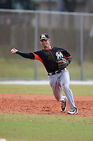 Miami Marlins third baseman Ross Wilson (27) during a minor league spring training game against the New York Mets on March 28, 2014 at the Roger Dean Stadium Complex in Jupiter, Florida.  (Mike Janes/Four Seam Images)