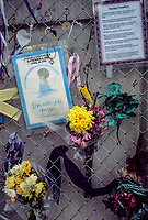 Oklahoma City, Oklahoma, USA.  OKC National Memorial Mementos on Fence.  Card in Memory of a Little Boy.