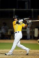 Joe Bennie #10 of the AZL Athletics bats against the AZL Dodgers at Phoenix Municipal Stadium on July 10, 2013 in Phoenix, Arizona. AZL Athletics defeated the AZL Dodgers, 7-1. (Larry Goren/Four Seam Images)
