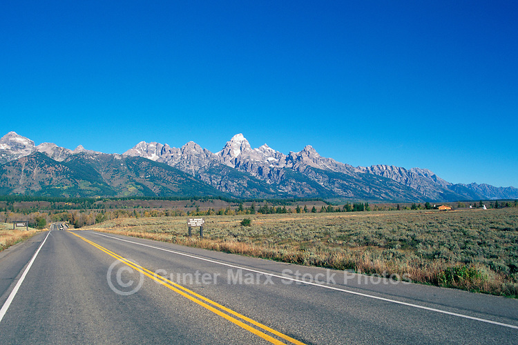 Grand Teton National Park, Wyoming, WY, USA - Teton Park Road, Grand Teton (Elev 4,197 m / 13,770 ft), and the Teton Range Mountains, Summer