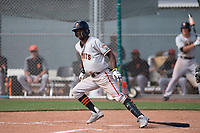 San Francisco Giants second baseman Kelvin Beltre (5) starts down the first base line during a Minor League Spring Training game against the Cleveland Indians at the San Francisco Giants Training Complex on March 14, 2018 in Scottsdale, Arizona. (Zachary Lucy/Four Seam Images)