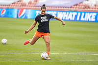 SANDY, UT - JULY 22: Kayla McCoy #16 of Houston Dash warms up during a game between Portland Thorns FC and Houston Dash at Rio Tinto Stadium on July 22, 2020 in Sandy, Utah.
