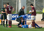 St Johnstone v Hearts....24.03.12   SPL.Jody Morris checks on a injured Murray Davidson.Picture by Graeme Hart..Copyright Perthshire Picture Agency.Tel: 01738 623350  Mobile: 07990 594431