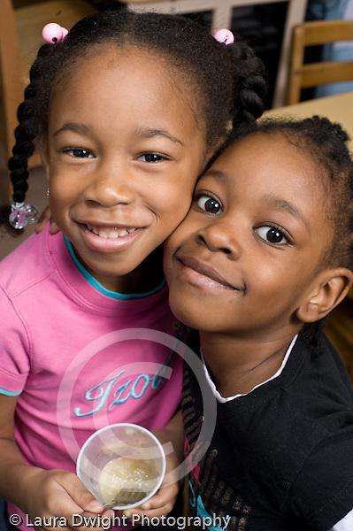 Education Preschool 3-4 year olds portrait of two girls friends vertical