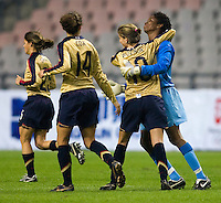 Briana Scurry and Angie Woznuk. The U.S. defeated Finland, 4-1 during the Four Nations Tournament in  Guangzhou, China on January 18, 2008.
