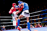 Huang Sung Sen (Red) of Taiwan fights against Li Huanjian (Blue) of China in the male muay 63.5KG division weight bout during the East Asian Muaythai Championships 2017 at the Queen Elizabeth Stadium on 12 August 2017, in Hong Kong, China. Photo by Yu Chun Christopher Wong / Power Sport Images