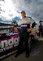 Oct. 31, 2008; Las Vegas, NV, USA: NHRA pro stock driver V Gaines during qualifying for the Las Vegas Nationals at The Strip in Las Vegas. Mandatory Credit: Mark J. Rebilas-